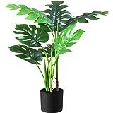 Fopamtri Plantes Artificielles Interieur Fausse Monstera Deliciosa Plante en Pot Hauteur 80cm Tropical Décoration Vertes Palm