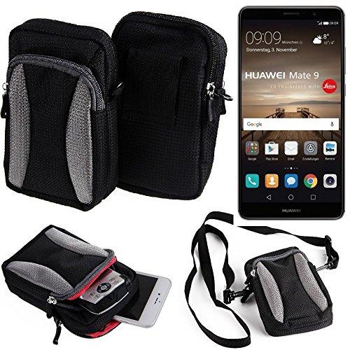 K-S-Trade Für Huawei Mate 9 (Dual-SIM) Gürteltasche Umhängetasche Für Huawei Mate 9 (Dual-SIM) schwarz-grau + Extrafach mit Platz für Powerbank, Festplatte etc. | Case travelbag Brustbeutel Br
