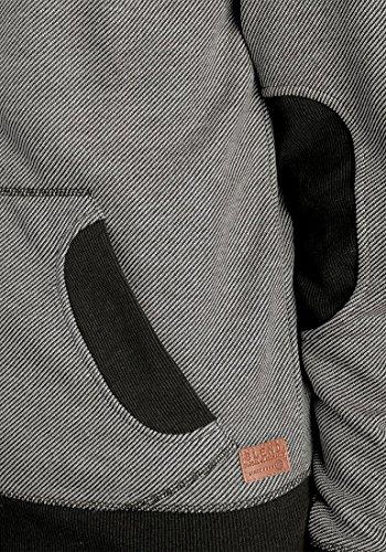 BLEND Stuart Herren Sweatjacke Kapuzen-Jacke Zip-Hoodie aus hochwertiger Baumwollmischung Meliert Black (70155)