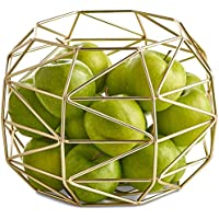 VonShef Large Gold Geo Fruit Bowl – Stainless Steel Wire Frame