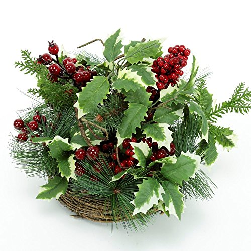 Centro de Mesa de Navidad clásico Verde de Mimbre para decoración navideña Christmas - LOLAhome