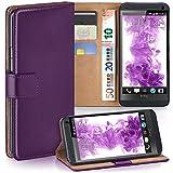 moex HTC One M7 | Hülle Lila mit Karten-Fach 360° Book Klapp-Hülle Handytasche Kunst-Leder Handyhülle für HTC One M7 Case Flip Cover Schutzhülle Tasche