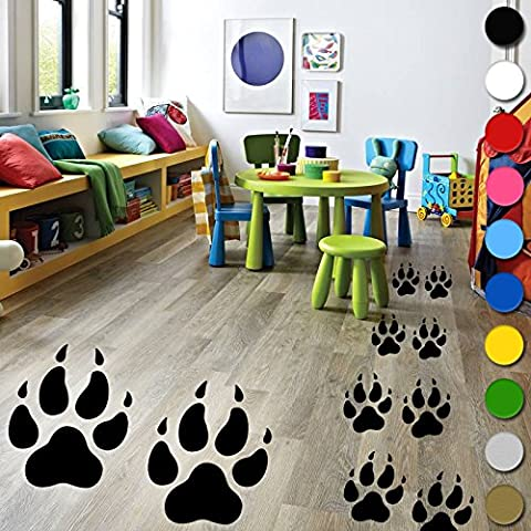 12?x Wolf Pfoten Spuren Wandtattoo Vinyl Kids Jungen M?dchen Schlafzimmer Boden Wand von inspiriert W?nde ?