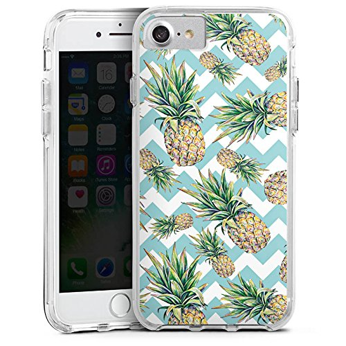 Apple iPhone 8 Bumper Hülle Bumper Case Glitzer Hülle Ananas Pineapple Muster Bumper Case transparent
