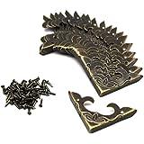 LUCYWEI 20 stuks antieke messing metalen hoekbescherming vintage hoeken decoratie voor sieraden geschenkdoos kleine houten ki