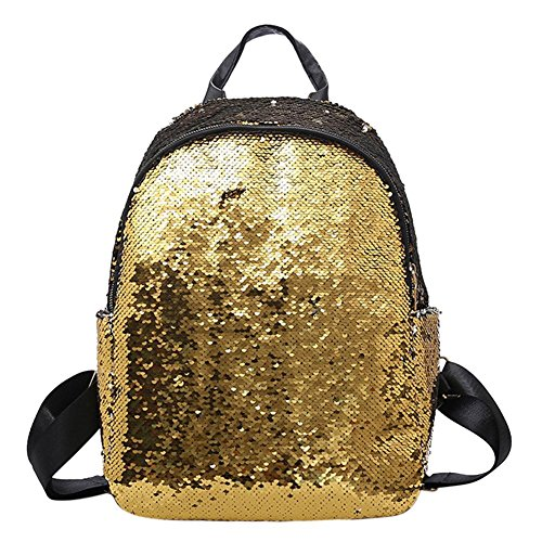 UEB Zaino Donna con Paillettes Glitterate Borsa da Viaggio Casual Borsa da Scuola per Ragazze (Oro)
