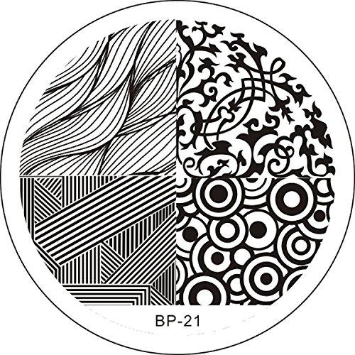 STAMPING-SCHABLONE # BP-21 grande verniciare grandi con ornamenti, motivo, Retro, onde