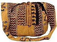 Guru-Shop Sadhu Bolsa, Bolso de Hombro, Impresión de Bloque del Hippie Bolsa de Hombro - Marrón / Amarillo, Unisex - Adultos, Algodón, Tamaño:One Size, Sadhu Bolsa, la Bolsa Hippie