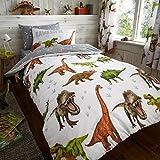 uarehome Kids Polycotton Uni Gefärbt Spannbetttuch und Bettwäsche-Sets mit Kissen Fall (Dinosaurier, Bettdecke Set)