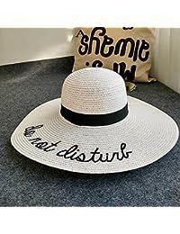 JIUZHOUCAI Carta cap bordado Big brim señoras verano sombrero de paja  sombreros para jóvenes mujeres sombra 0a04ddcf048