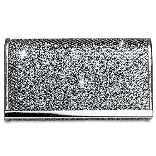 Caspar TA344 kleine elegante Damen Glitzer Clutch Tasche Abendtasche, Größe:One Size, Farbe:dunkelsilber