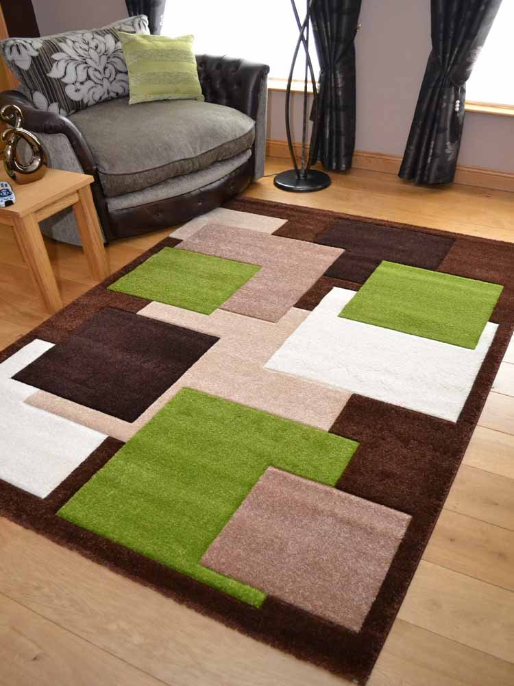 Tempo Brown Green Square Design Thick Quality Modern Carved Rugs