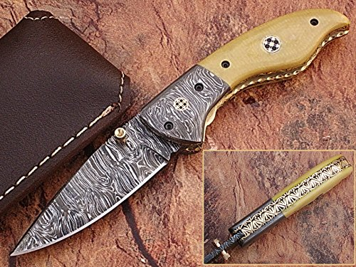 "CUSTOM MADE DAMASCUS STEEL 7.3"" FOLDING POCKET KNIFE WITH CANADIAN G 10 & SOLID DAMASCUS STEEL BOLSTER WITH MOSAIC PIN HANDLE(BDM-2)"