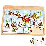 Holz Puzzle 24 Teilig Weihnachten Adventskalender Weihnachtsmann Geschenk Schlitten Adventskalenderfüllung