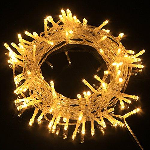 Uping Catane di Luci da Batteria Impermeabili| con 100 Luci a LED a Forma di Cordone di 11 m | 8 Modi di illuminazione | Caldo Bianco