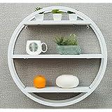 Estantería de pared de salón / estantes redondos de madera maciza / librero / estante de pared de pared / estante de pared estante de pared / estante de tres colores opcionales / estante de pared de división / (60 * 19 * 60cm) ( Color : Blanco )