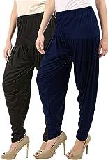 Buy That Trendz Women's Cotton Viscose Lycra Dhoti Patiyala Salwar Harem Bottoms Pants Black White Combo Pack of 2