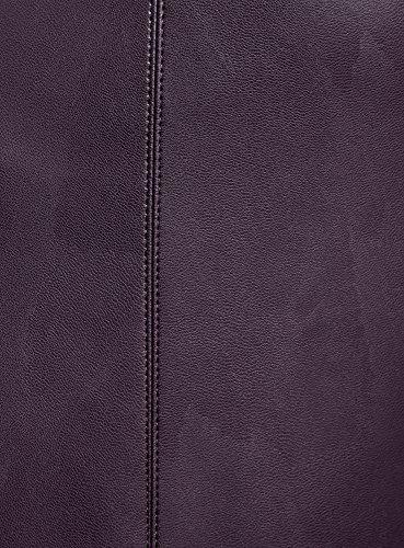 oodji Ultra Femme Jupe Trapèze en Similicuir Violet (8801N)