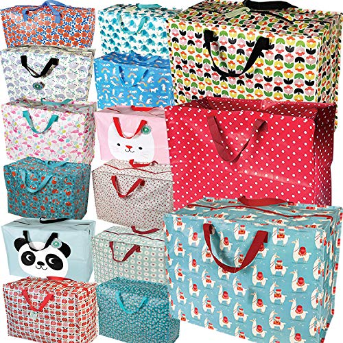 LS-Design XXL Jumbo Bag Blumen Blau Recycled Allzwecktasche Einkaufstasche -