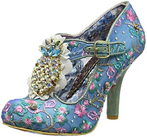 Irregular Choice Pea Pods, Zapatos con Tacon y Tira Vertical para Mujer, Azul (Blue a), 39 EU