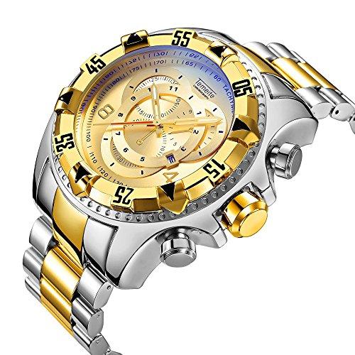 YOLANDE Herren Fashion Sport Quarzuhr Edelstahl Band 30 m, wasserdicht, mit Fashion Kleid Uhr für Herren,Gold (Bänder Herren-kleid-uhr)