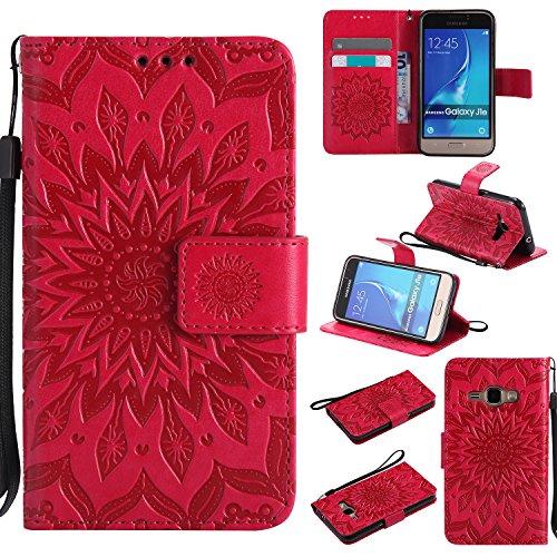Cozy Hut Coque Samsung Galaxy J1 2016,Housse Étui Coque de Protection PU Cuir Ultra Slim à Rabat Flip Cover Support Magnétique Adsorption Porte-Carte Étui Samsung Galaxy J1 2016 - Rouge