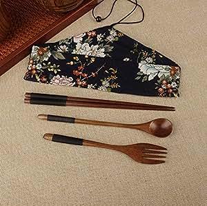 bingqing tragbar lunch geschirr set holz japanische gabel l ffel essst bchen besteck set 3. Black Bedroom Furniture Sets. Home Design Ideas