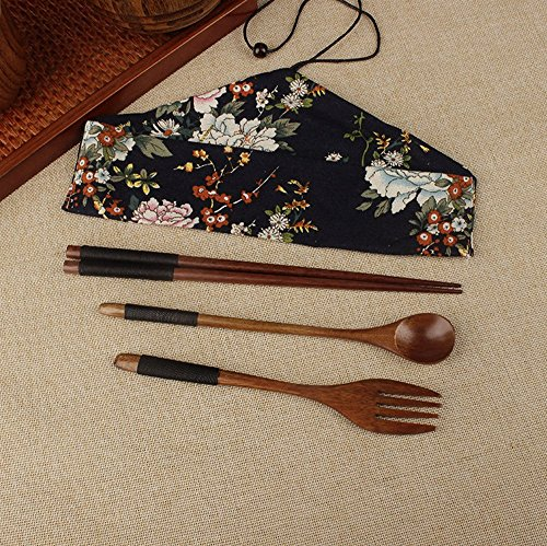 BingQing Portable Lunch Tableware Set. Wooden Japanese Fork Spoon Chopsticks Cutlery Set--3pcs