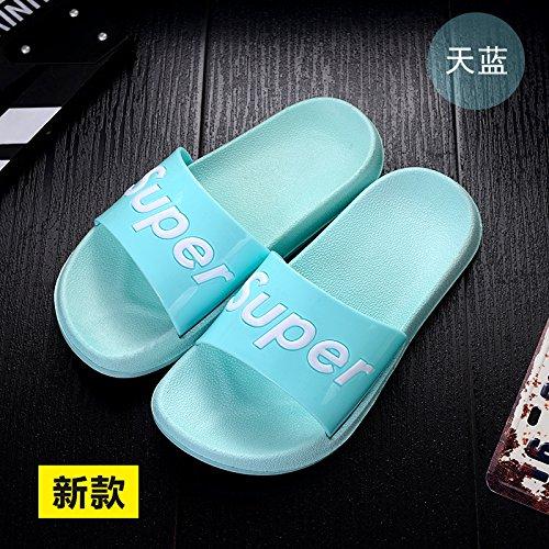 DogHaccd pantofole,La sig.ra pantofole estate uomini casuale personalità del mondo della moda di spessore, antiscivolo scanalato di sabbia nel bagno soggiorno casa cool pantofole Blu cielo1