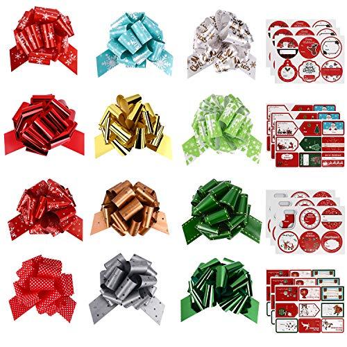 GIKPAL Autocollants pour étiquettes de Cadeaux de noël 90PCS avec 12 PCS Noeuds Rubans Emballage Cadeau Tirez noël Idéal pour Décorer Cadeau Noël