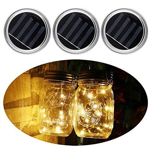 3 Pack Mason Jar Lids mit Lichter Solar Mason Jar Dekor Deckel Insert LED String Fairy Lichter für Garten Deck Patio Party Hochzeit Weihnachten Dekorative Beleuchtung Warmweiß (Solar Led Fairy Lichter)