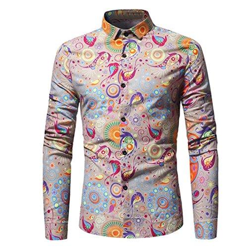 Herren Lange Ärmel Hemd,FRIENDGG Persönlichkei Casual Blumen Drucken Beiläufig Frühling Herbst Sommer Winter Schlank Mode T-Shirt Shirts Tops Bluse Pullover Für Männer