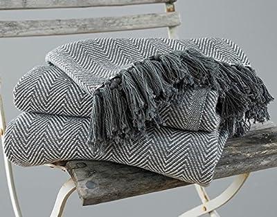 EHC, plaid in 100% cotone a spina di pesce, grande, per divano e letto, 125x 150cm,grigio by Elite Houewares