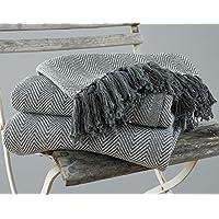 EHC - Grand plaid et couvre-lit motif chevrons en 100 % coton, 220 x 250 cm - Gris