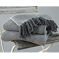 EHC Herringbone King Size 100% Cotton Throws for Sofa Bed Blanket Throw, 220 x 250 cm - Grey