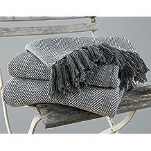 EHC – Mantas tamaño King de 225 cmx 250cm, 100 % algodón para cama y sofá, color gris y diseño en forma de espigas