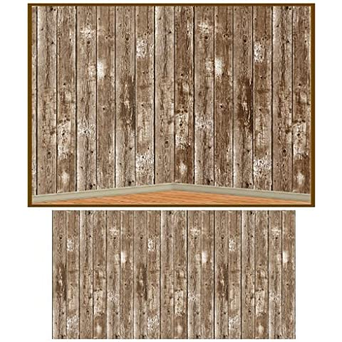 Beistle 52041 Barn Siding Backdrop Party Accessory, 4-Feet by 30-Feet by The Beistle Company