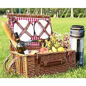 Sunflora Picknickkorb für 4 Personen Picknickset mit Großem Isoliertem Kühlfach, Premium Edelstahl TAFELSILBER und Portable Picknickdecke für Familie Camping, Geschenk