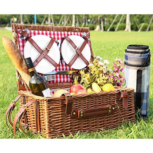 Sunflora Picknickkorb für 4 Personen Picknickset mit Großem Isoliertem Kühlfach, Premiun Edelstahl Besteck und Portable Picknickdecke für Familie Camping, Geschenk (Caramel)