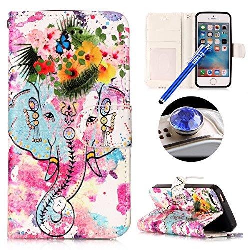iPhone 5,iPhone 5S,iPhone SE Coque,Housse iPhone 5/5S/SE Coque Cuir,iPhone 5/5S/SE Coquille en Cuir Pu Housse Etui Folio Case iPhone 5/5S/SE Romantique Élégant Beau Joli Fleurs Papillon Intéressant Ou Fleur éléphant