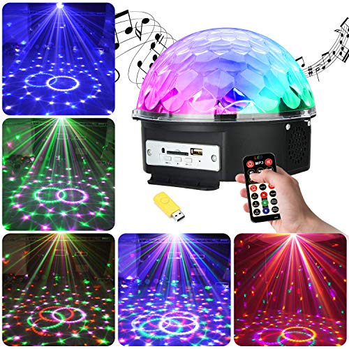 UBEGOOD LED Discokugel, LED Party Lampe RGB Lichteffekt Disco Party Licht als Musik Player Lampe Projektor DJ Licht Crystal Magic Kugellicht Deko für Geburtstag Party Zubehör Dekoration Feier Club Bar
