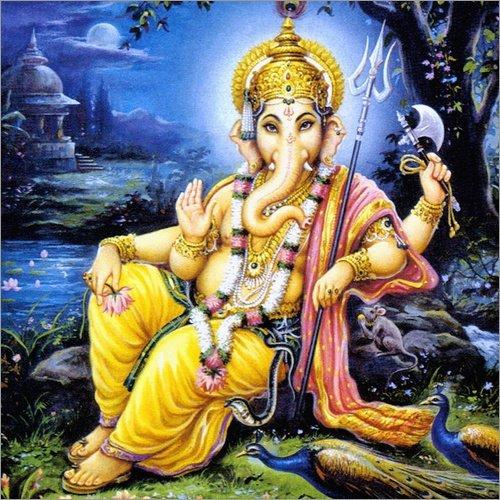 Posterlounge Leinwandbild 30 x 30 cm: Heilige Ganesha - fertiges Wandbild, Bild auf Keilrahmen, Fertigbild auf echter Leinwand, Leinwanddruck