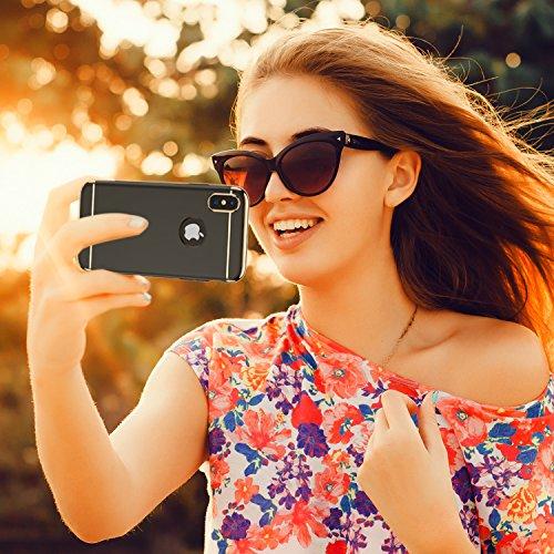 iPhone X Hülle, RANVOO 3-Teilige Dünn Slim Hart Hardcase Styliche Hochwertig Schutzhülle Schale Handy Hülle für Apple iPhone X/iphone 10 Case Cover [Apple Logo sichtbar], Dunkleblau Schwarz