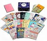 Geburtstagskarten Set, 40 Stück, einzigartige Designs und Goldverzierungen, HonWally Premium Geburtstatkarten Box mit drei Farben Briefumschläge