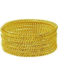 2571ca499d12 Banithani 18K plateó el Brazalete Tradicional 12PC Churi Conjunto de joyería  de la Pulsera de diseñador