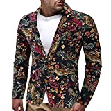 Men's Bomber Jackets, Autumn Winter Jacket, Men's Dress Floral Suit Lapel Slim Fit Stylish Blazer Dress Suit Coat(Multicolor, XXXL)