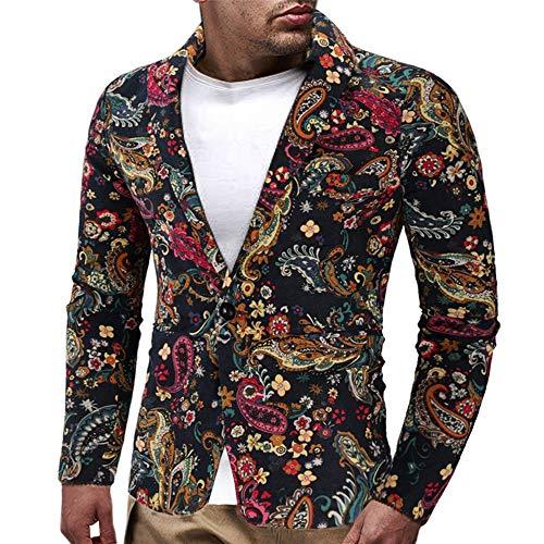 3 Tasche Blazer (Amphia - Vintage-Blazer für Herren - Herren Kleid Floral Anzug Revers Slim Fit Stilvolle Blazer Kleid Anzug Mantel(Mehrfarbig,XXL))