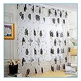 vorhänge gardinen ❤️Timogee Pfingstrose Tüll Fensterbehandlung Voile Drape Valance Schal Blickdicht Vorhang Ösen Gardine Microsatin, 1 Stück 200cm x 100cm (L x W) (Grau)