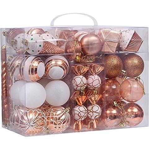 Sea Team 81-pack verschiedene Bruchsichere Christmas Ball Ornaments Set Deko Kugeln Anhängern mit wiederverwendbar Hand Geschenk-Paket für Xmas Tree Art Deco kupfer
