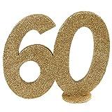 XXL Tischdeko Zahl 60 Geburtstag Gold Glitzer 1 Stück Party-Deko Palandi®